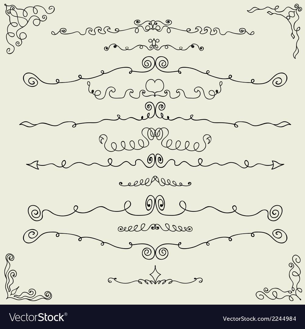 Hand drawn calligraphic design elements vector