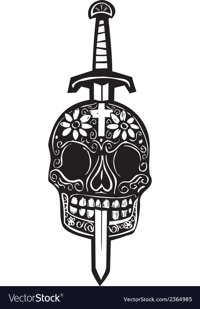Sword and day of dead skull vector