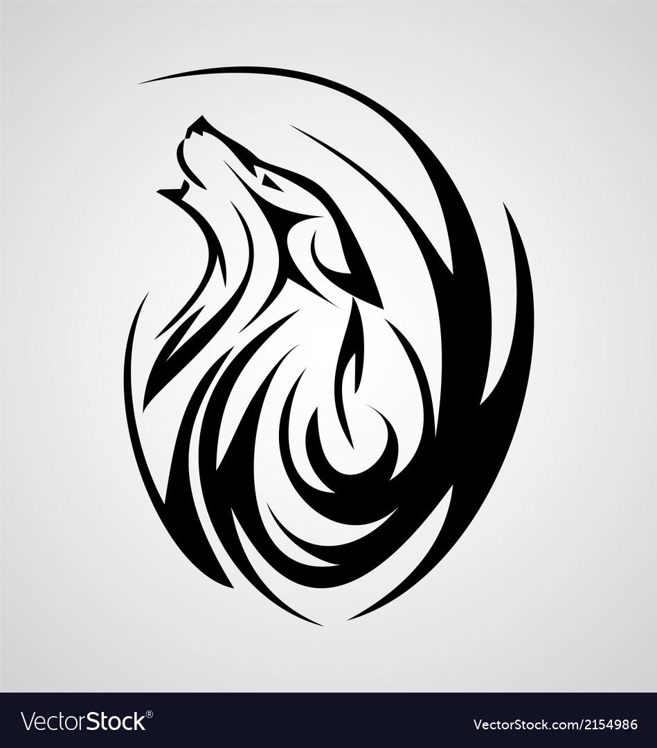 Wolf tattoo design vector