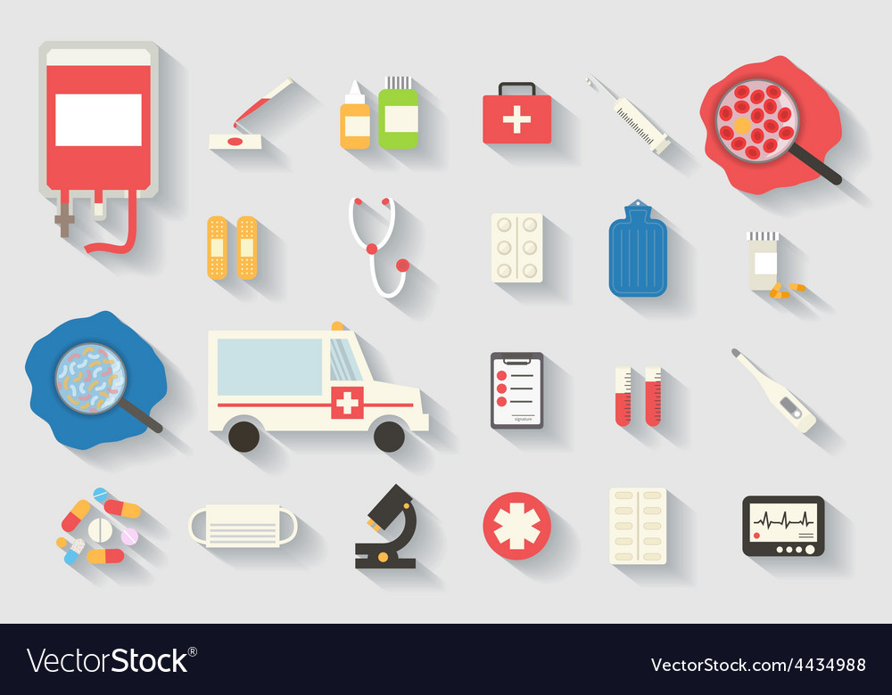 Medical icons set healthcare infographic vector