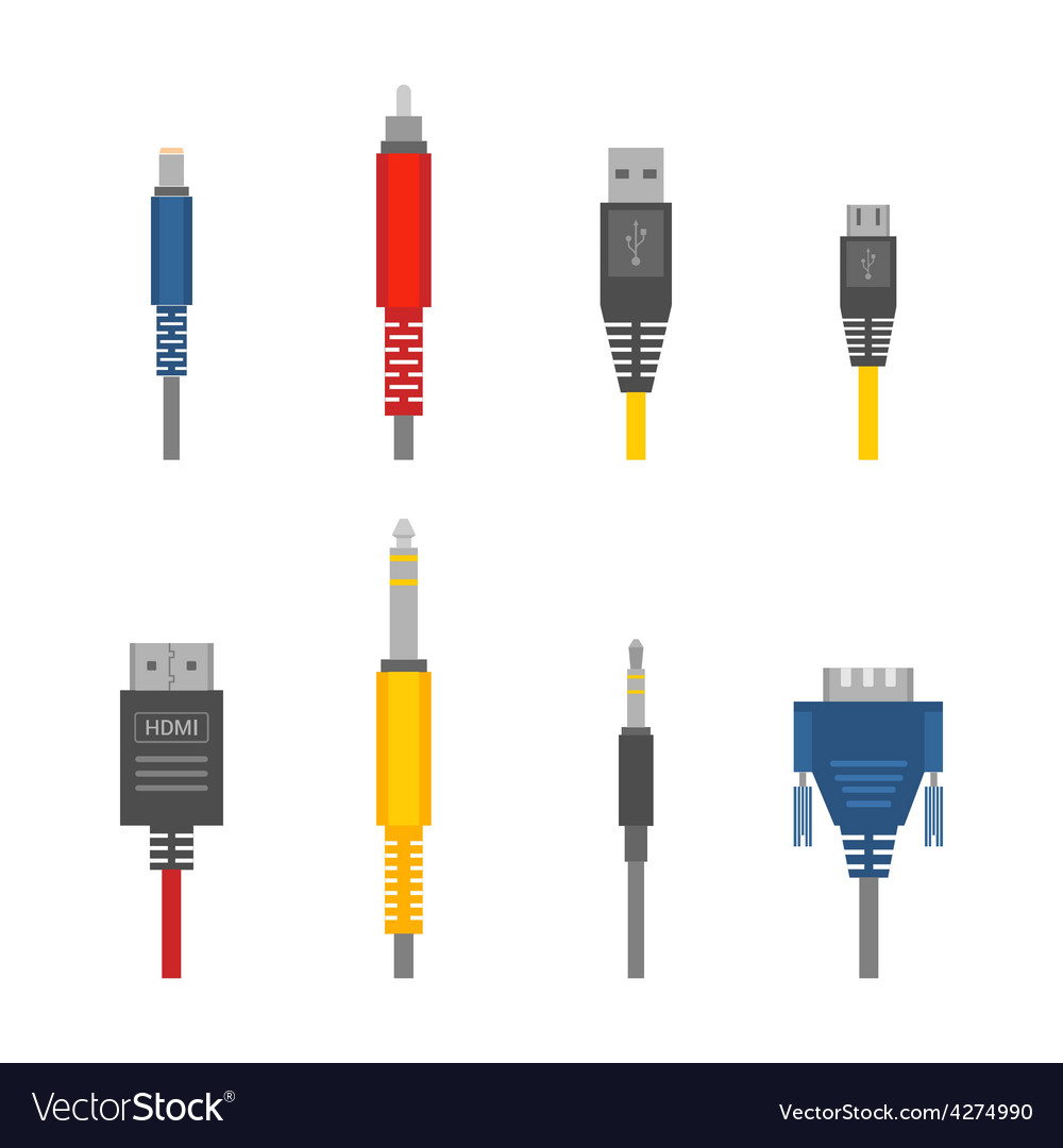 Color various audio connectors and inputs vector