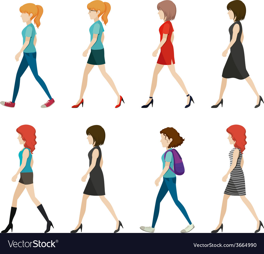 Faceless ladies walking in one direction vector