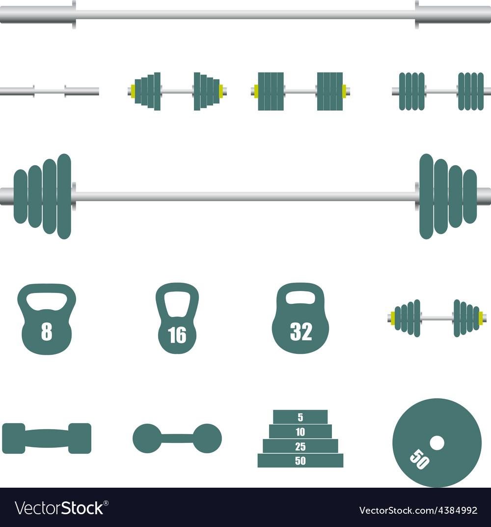 Icons sports equipment vector