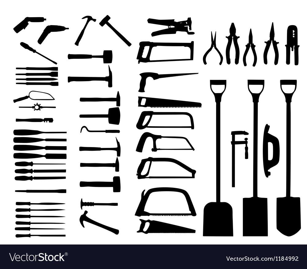 Set of power tools shovel drill hammer icon vector