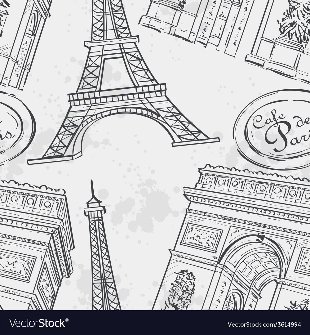 Seamless texture with the eiffel tower vector