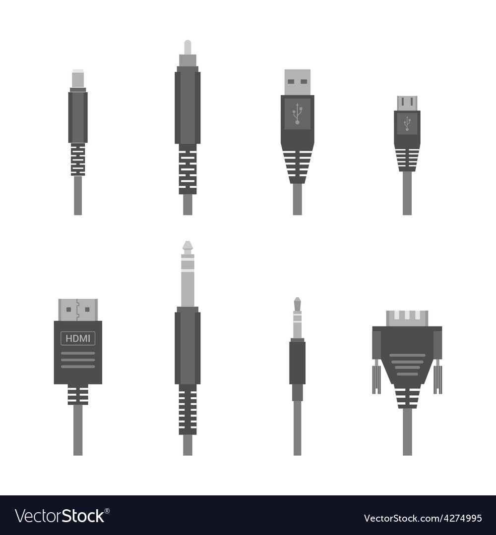 Grey various audio connectors and inputs vector