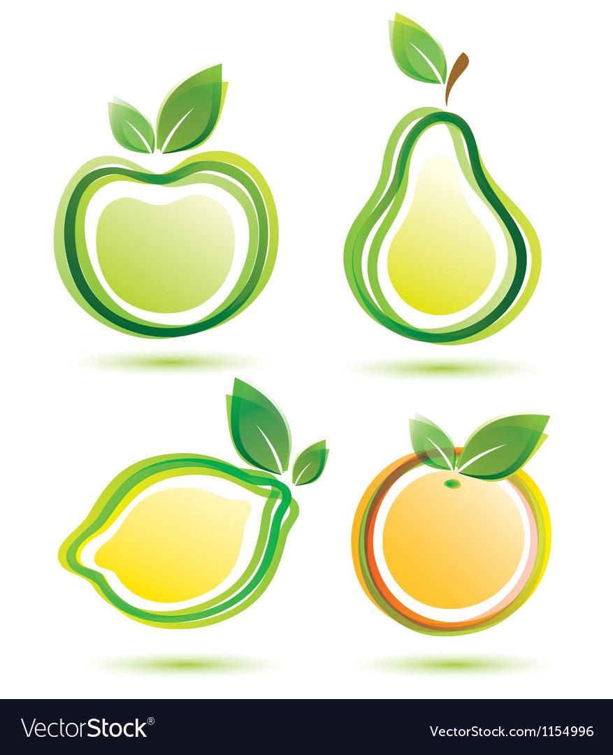 Green fruits icons bio food concept vector