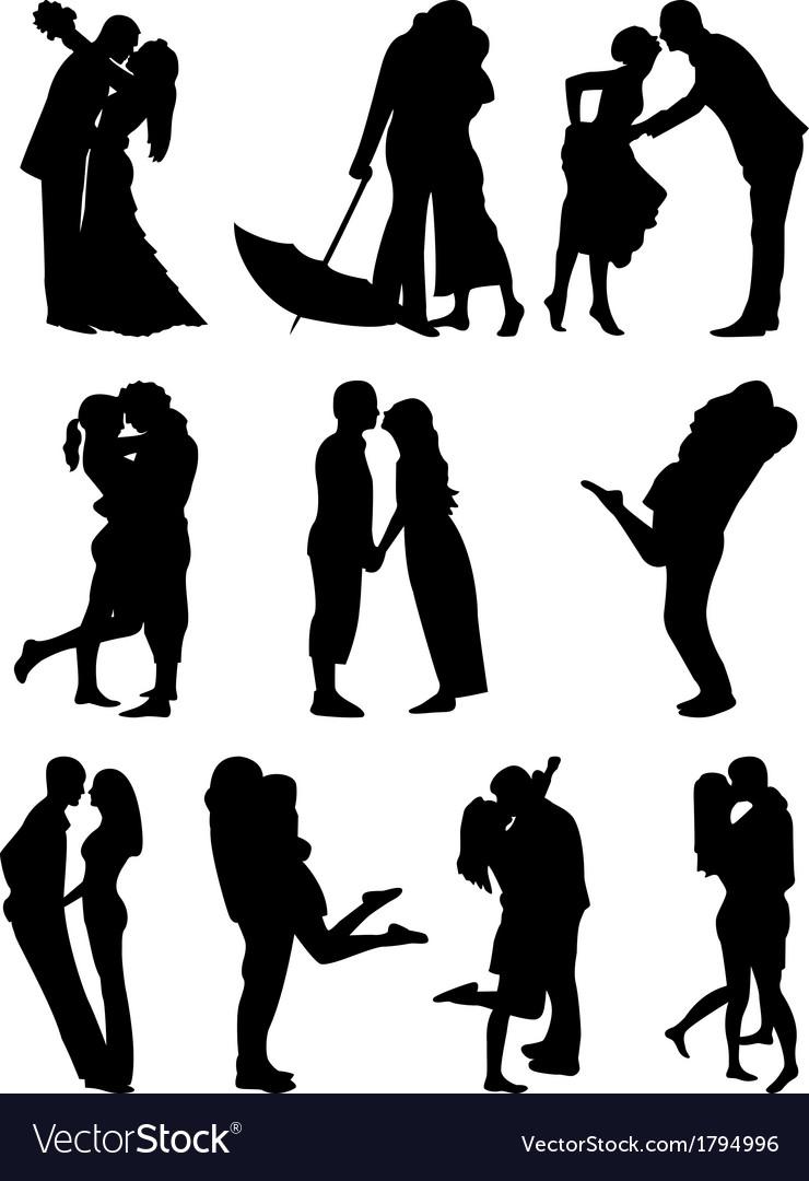 Romantic couples cilhouettes vector