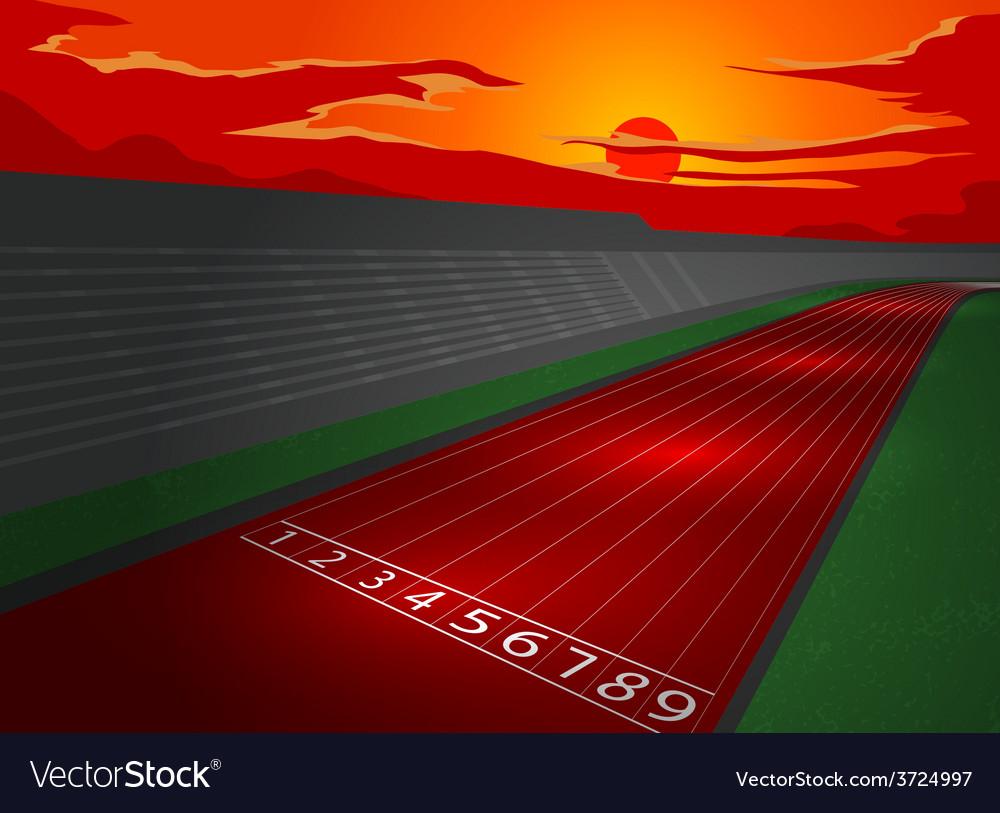 Stadium and racetrack in dusk vector