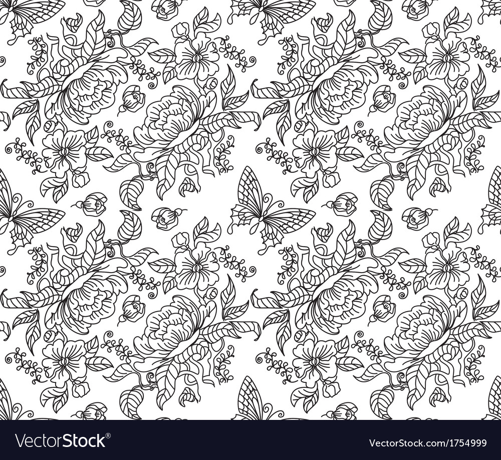 Peony and butterfly seamless bw vector