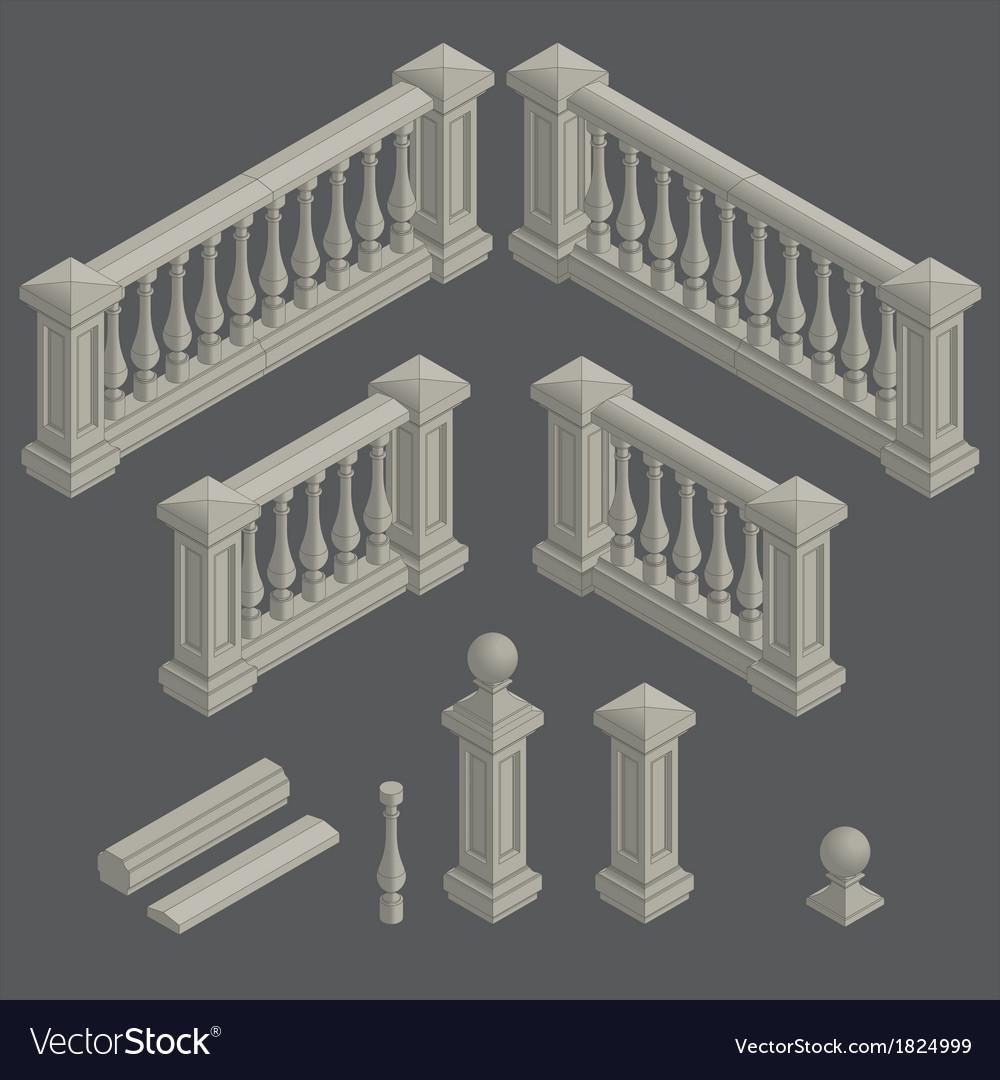 Set of architectural element balustrade vector