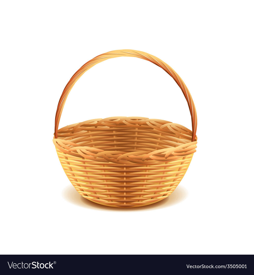 Wicker basket isolated vector