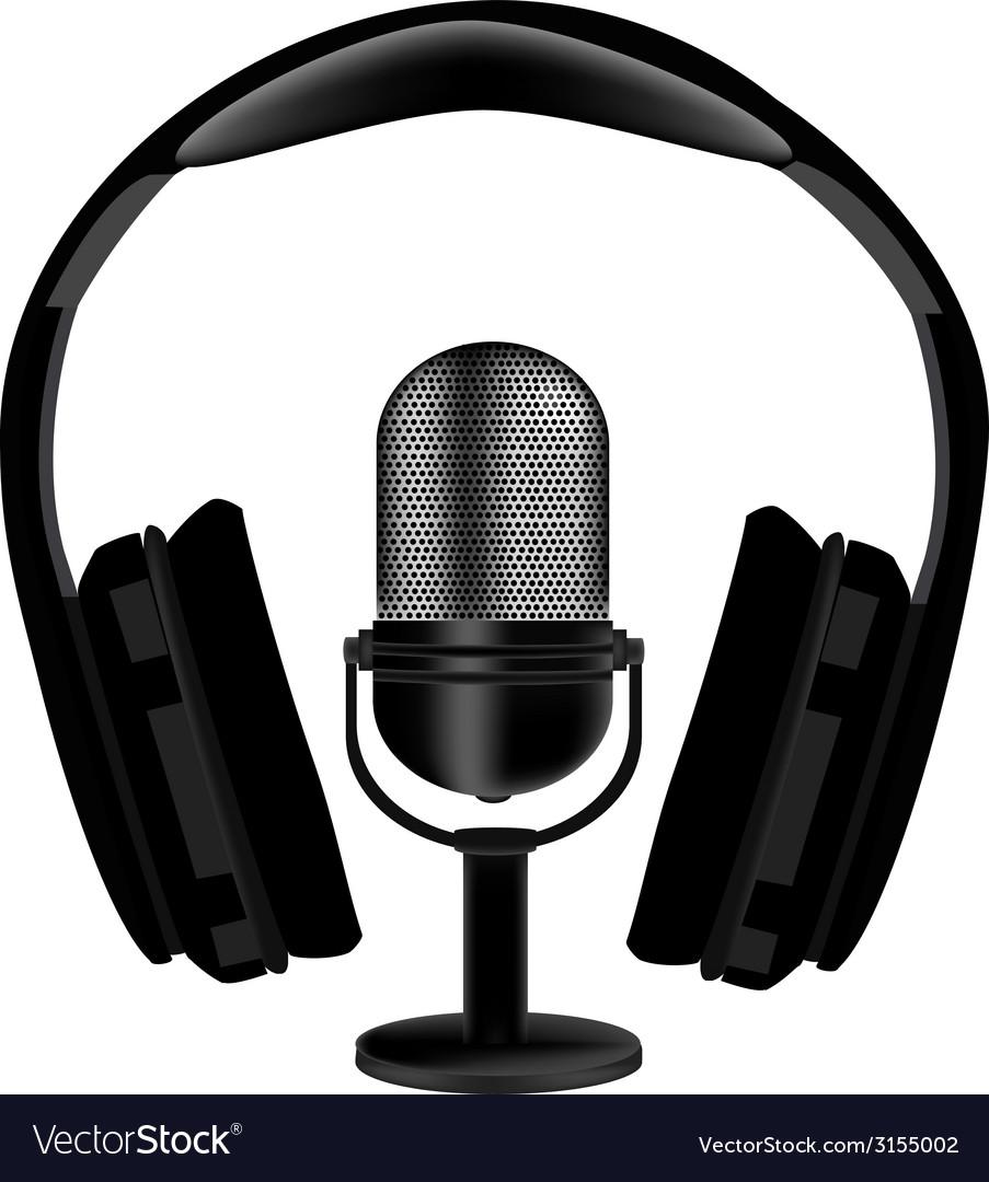 Microphone and headphones vector