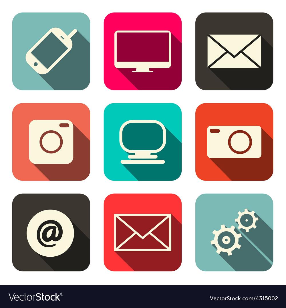 Retro technology internet communication icons set vector