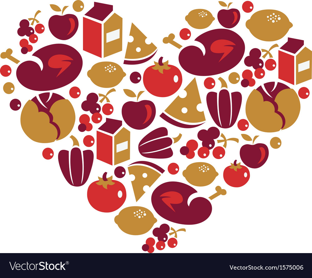 Heart shape with food icons vector