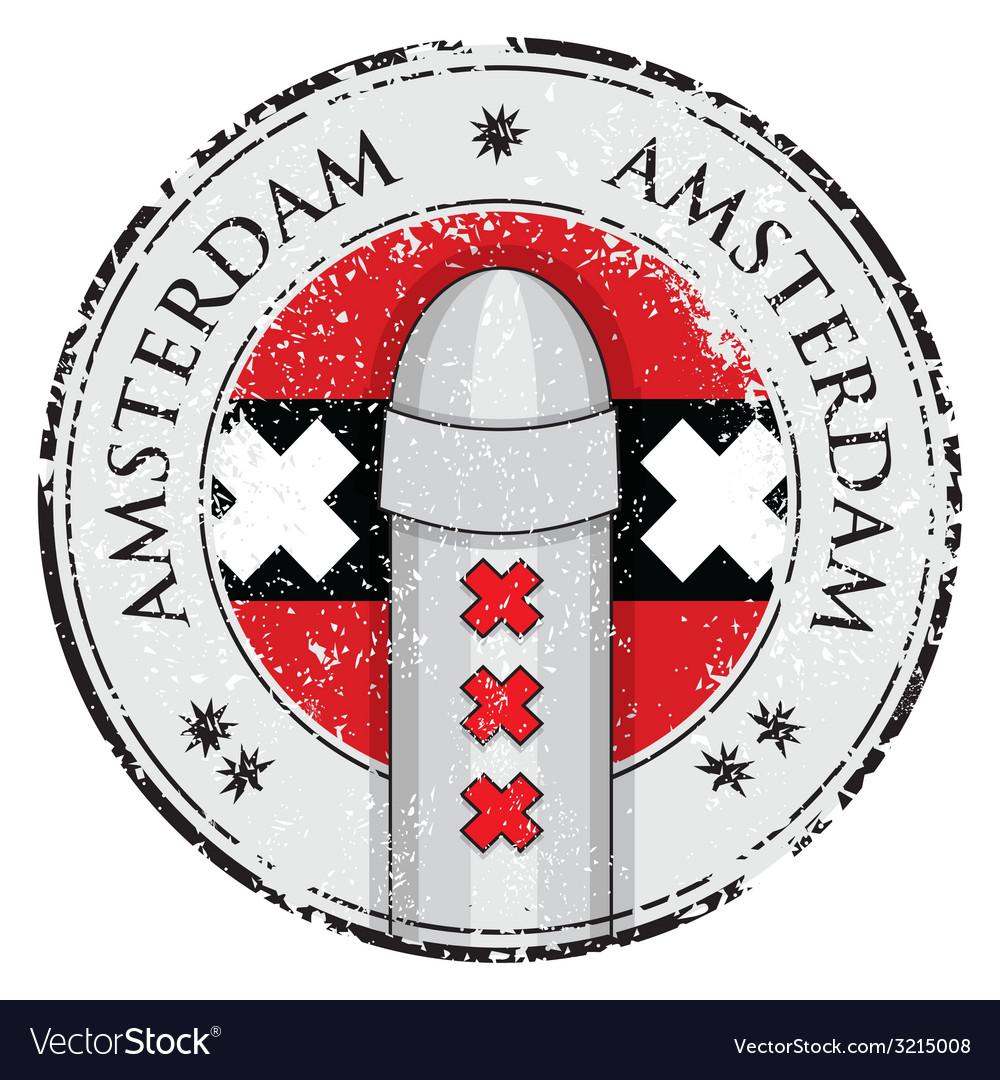 Grunge stamp with bollard symbol of amsterdam vector