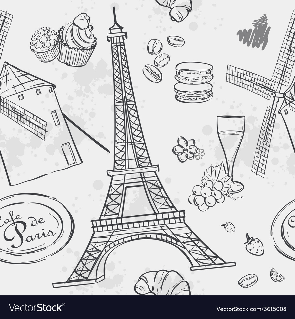 Texture with the image of the eiffel tower and the vector