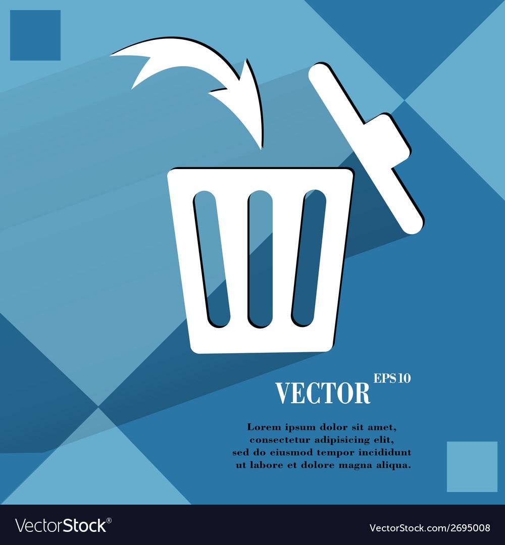 Trash bin flat modern web button on a flat vector