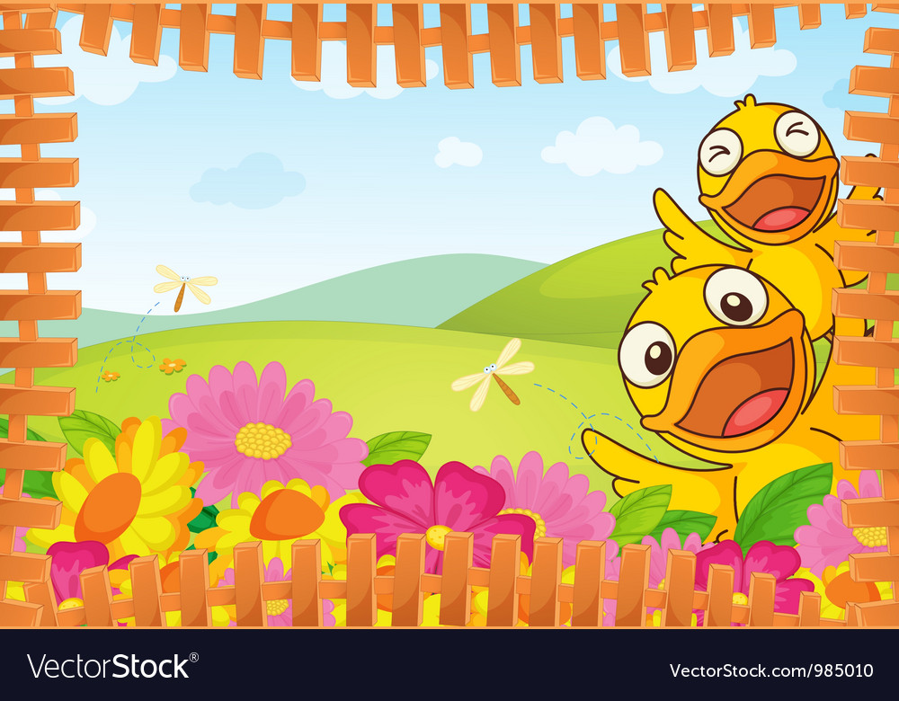 Fence bordered nature background vector