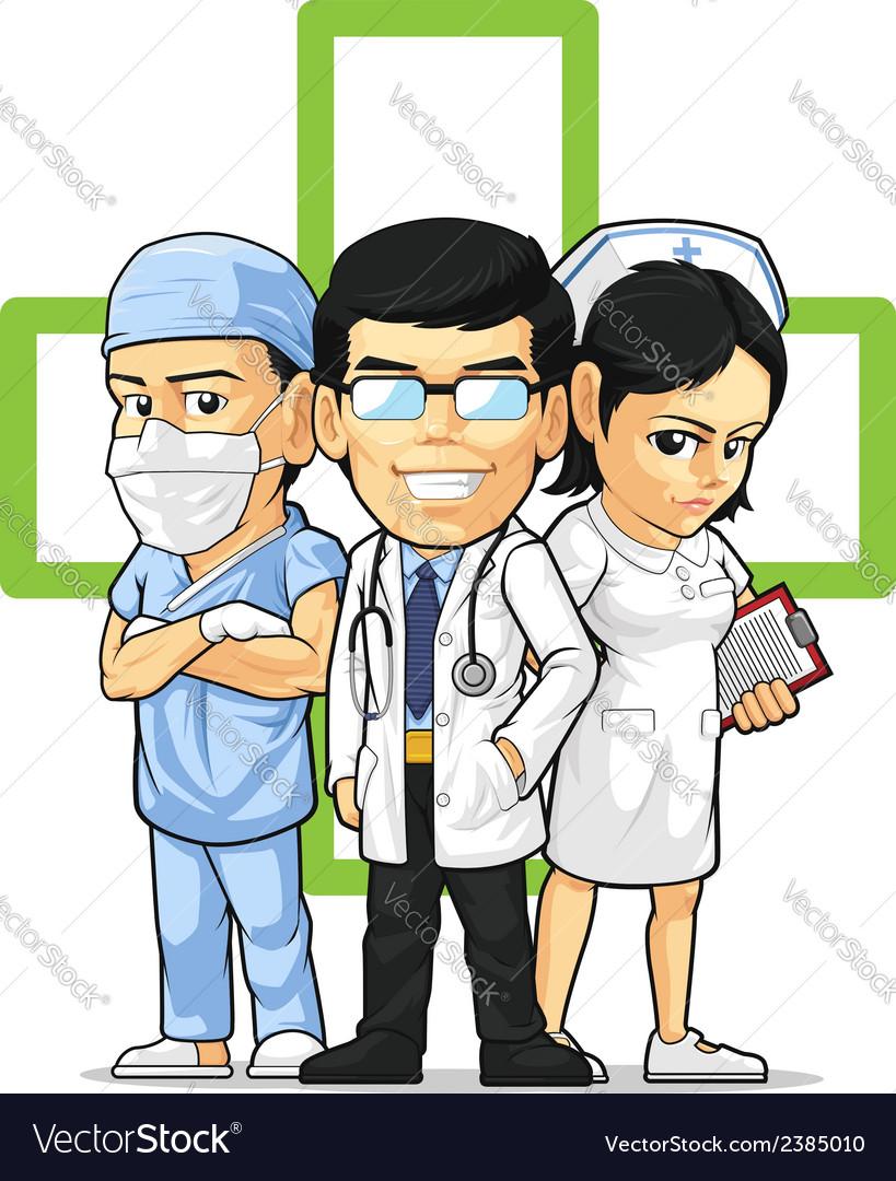 Health care or medical staff doctor nurse surgeon vector
