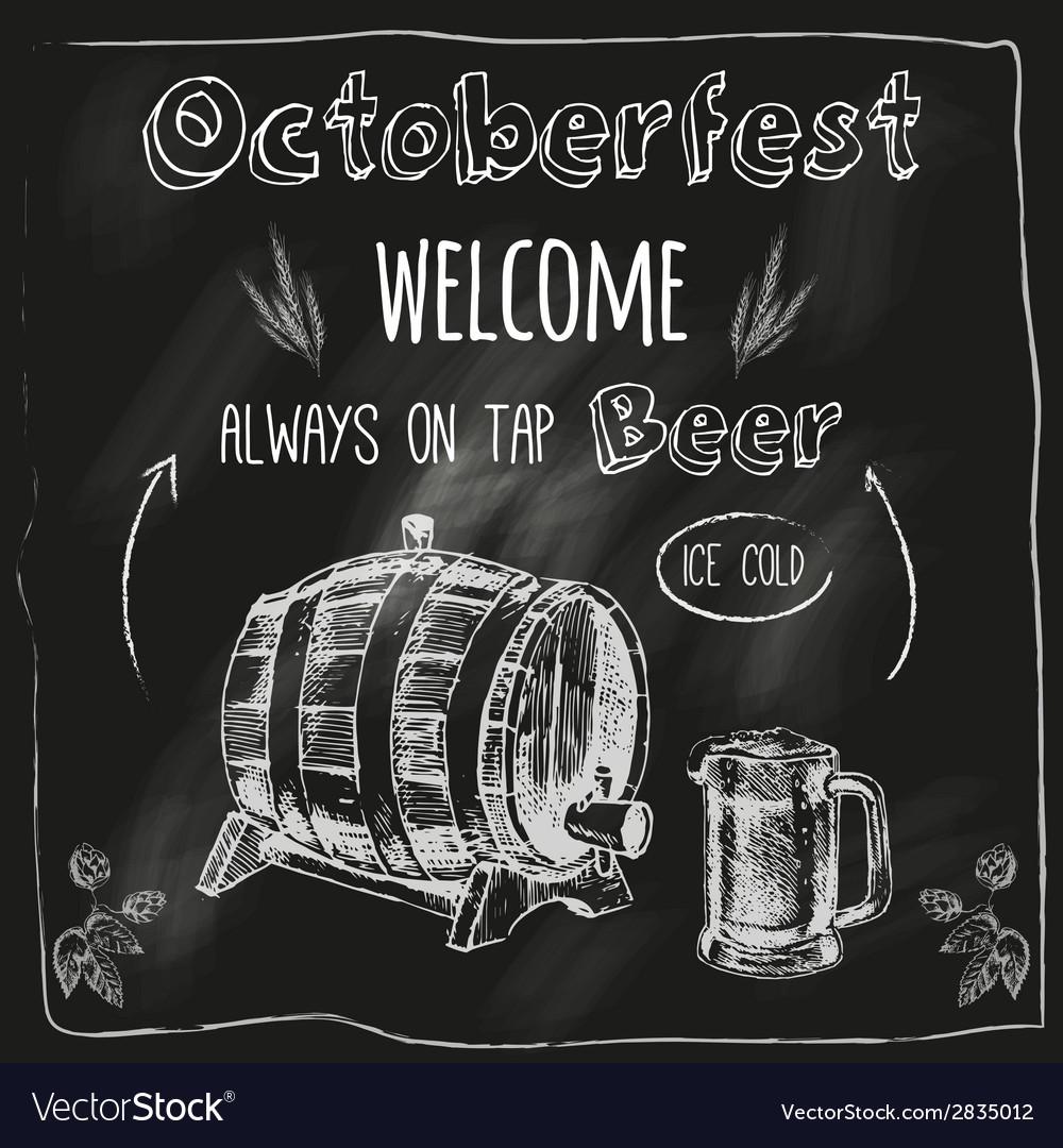 Tap beer design blackboard placard vector