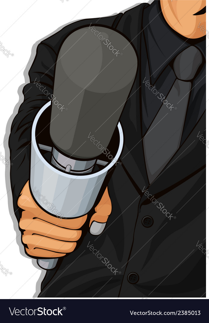 Host holding microphone vector