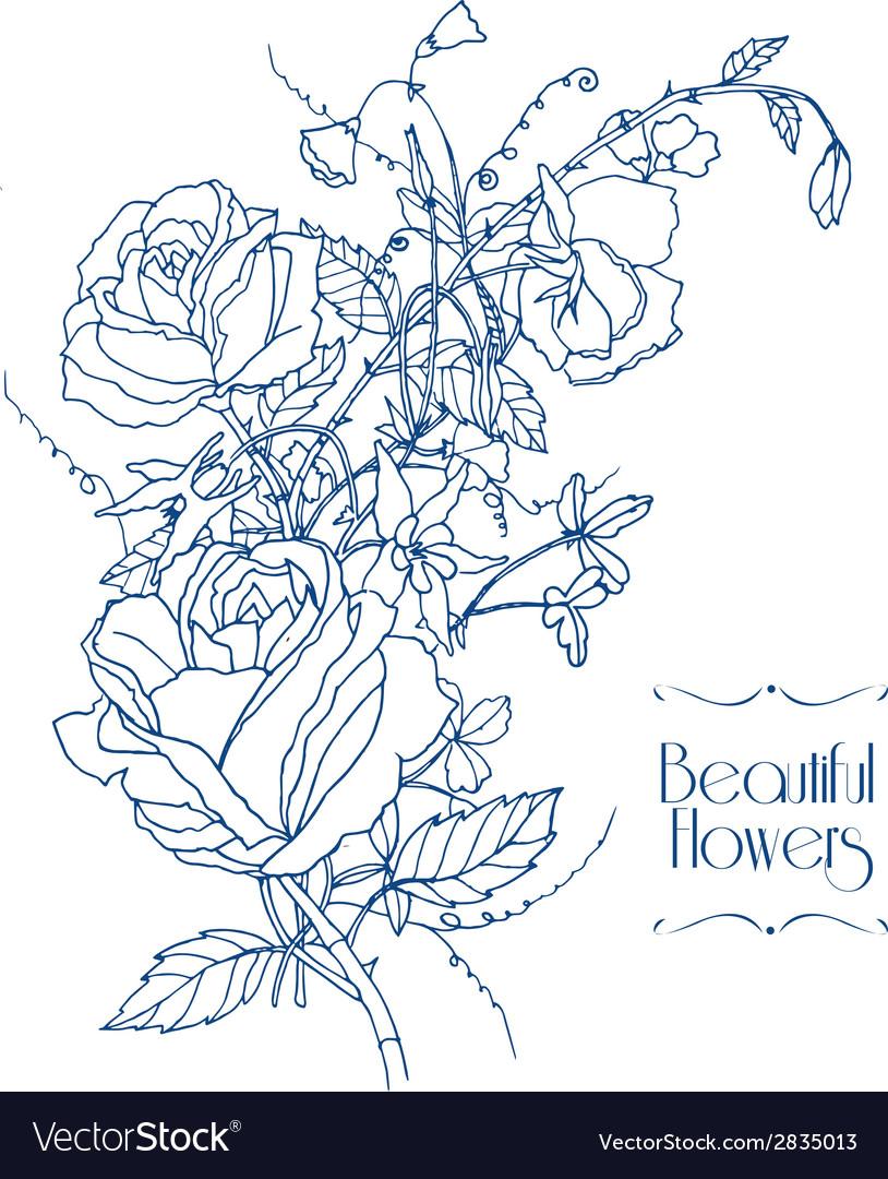 Vintage flowers sketch vector