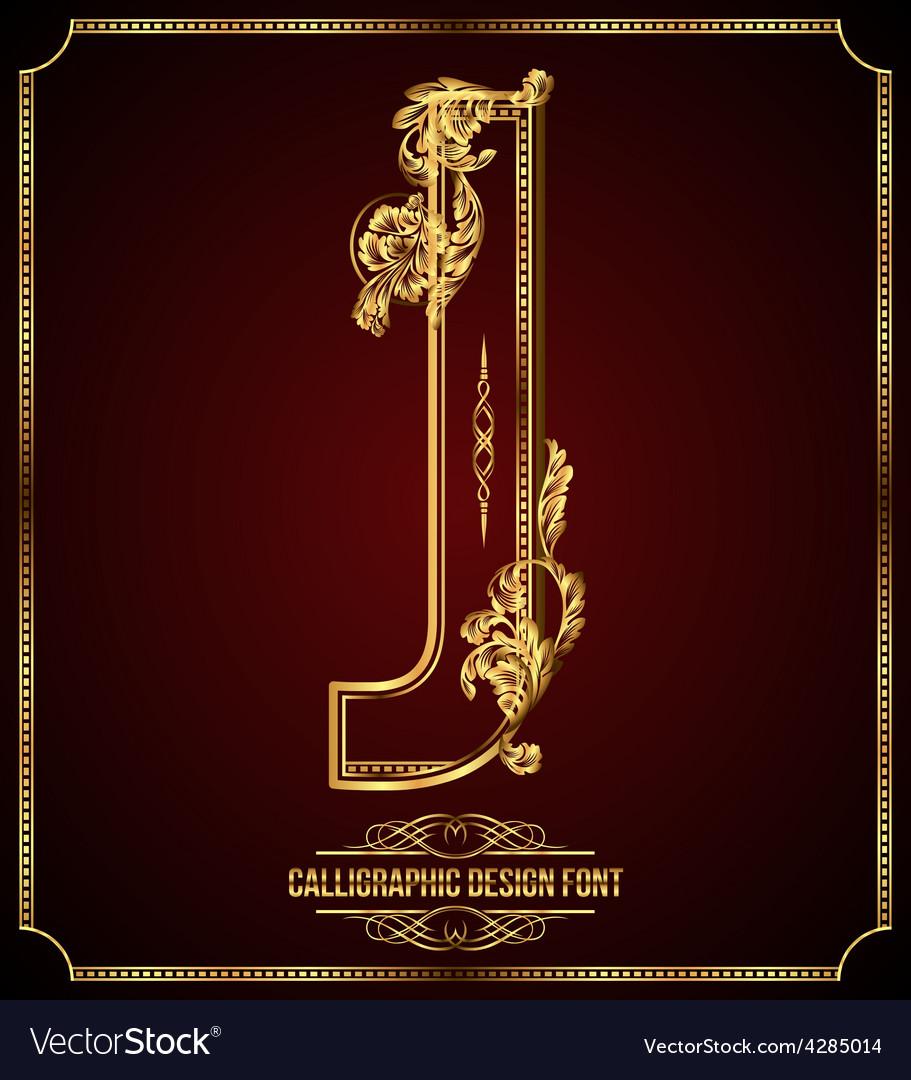 Calligraphic font letter j vector
