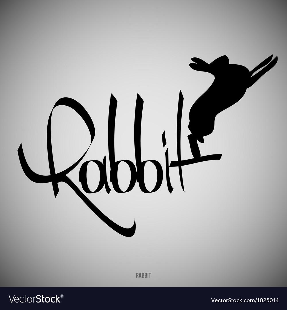 Rabbit calligraphic elements vector