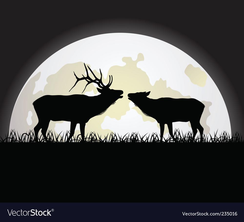 Deer against the moon vector