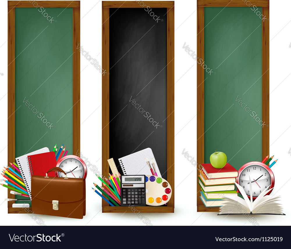 Back to school three banners with school supplies vector