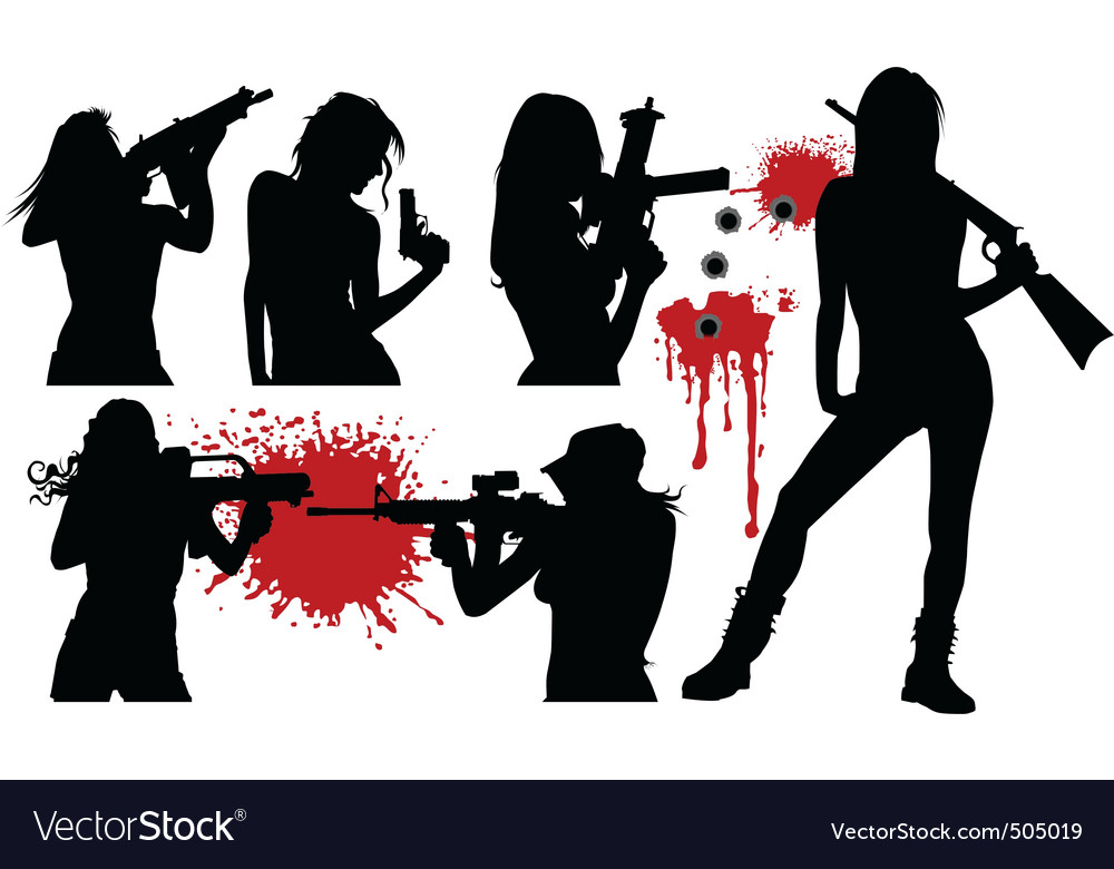 Woman and weapons vector