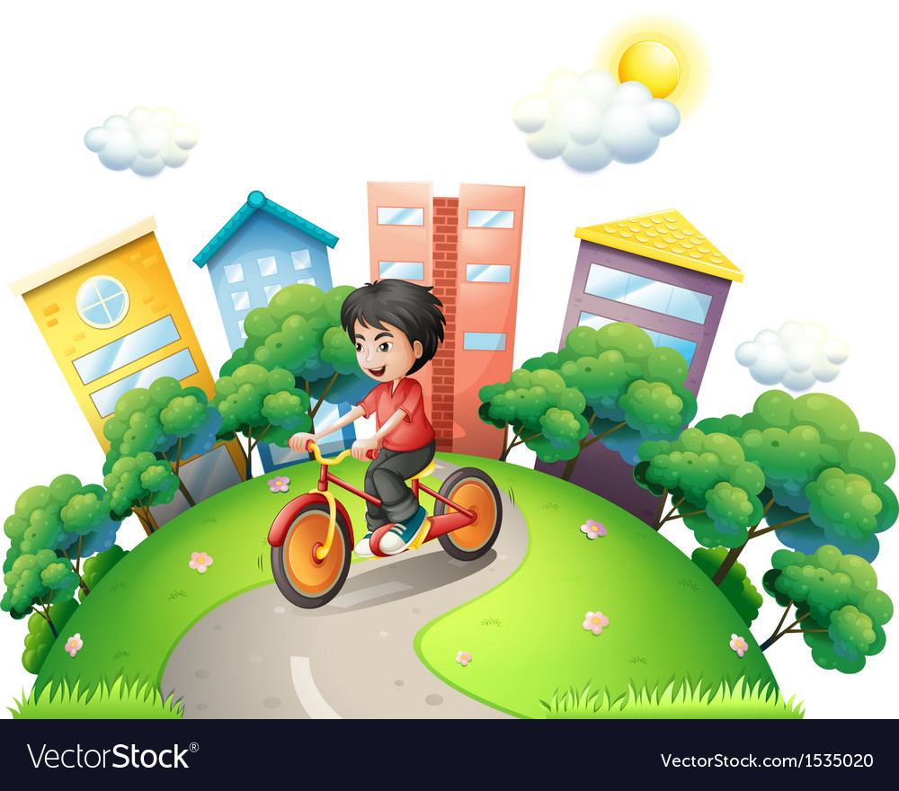 A boy biking at the road going to the high vector
