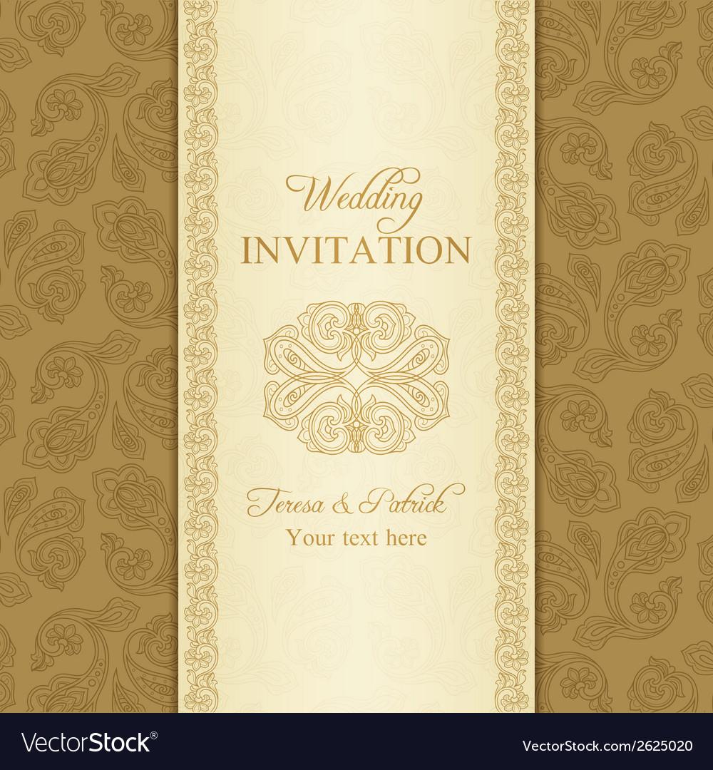 Turkish cucumber wedding invitation gold vector