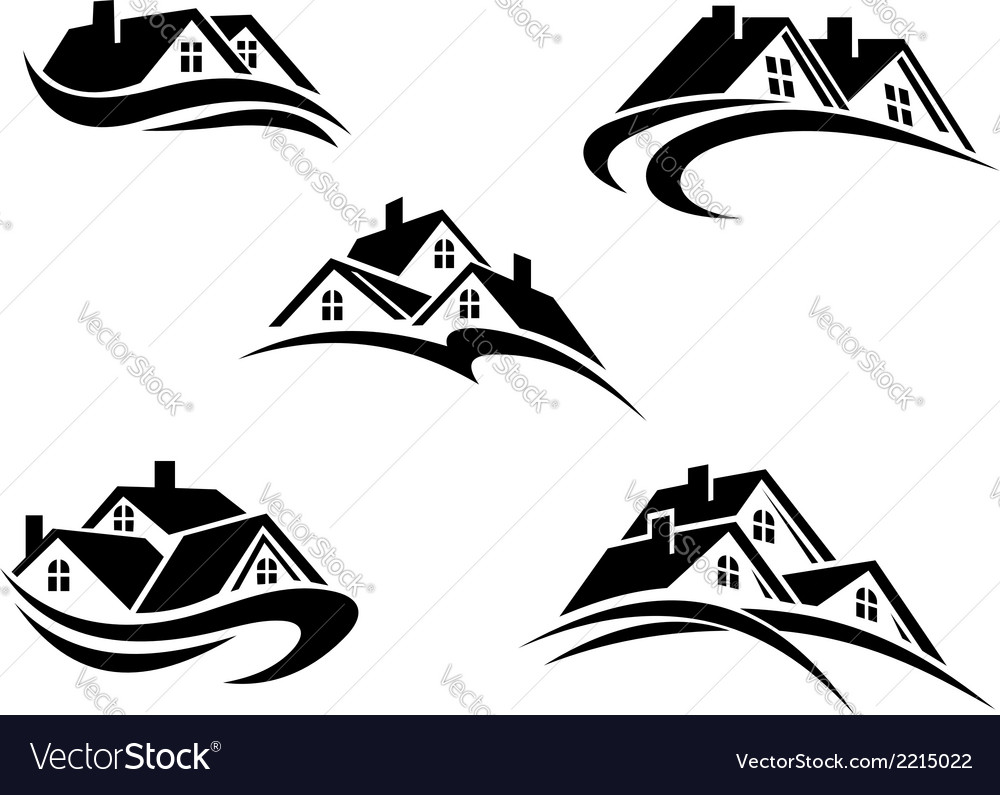 Five different real estate icons vector
