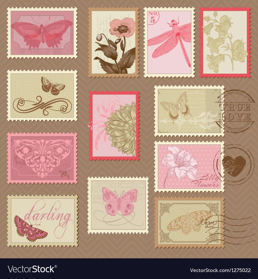 Retro postage stamps vector