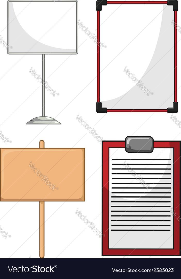 Information board whiteboard wood plank vector