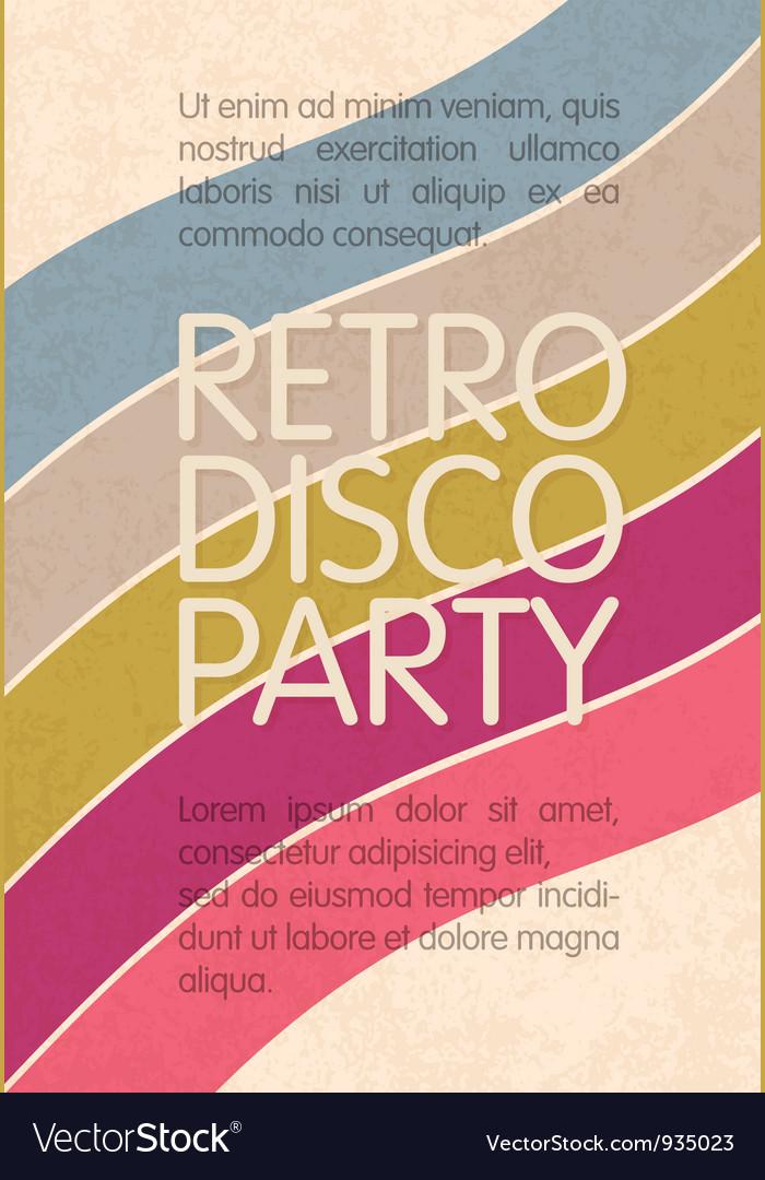 Retro disco party flyer design vector