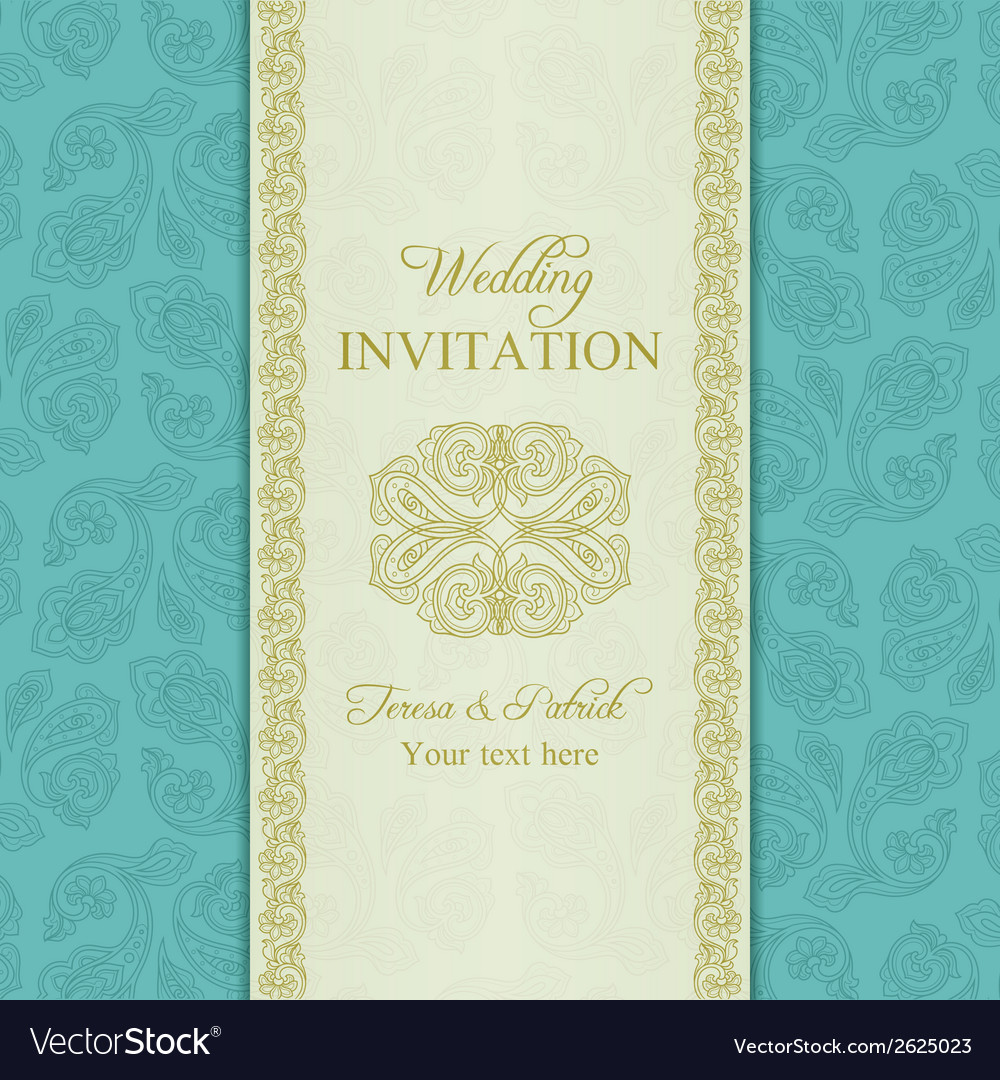 Turkish cucumber wedding invitation gold and blue vector