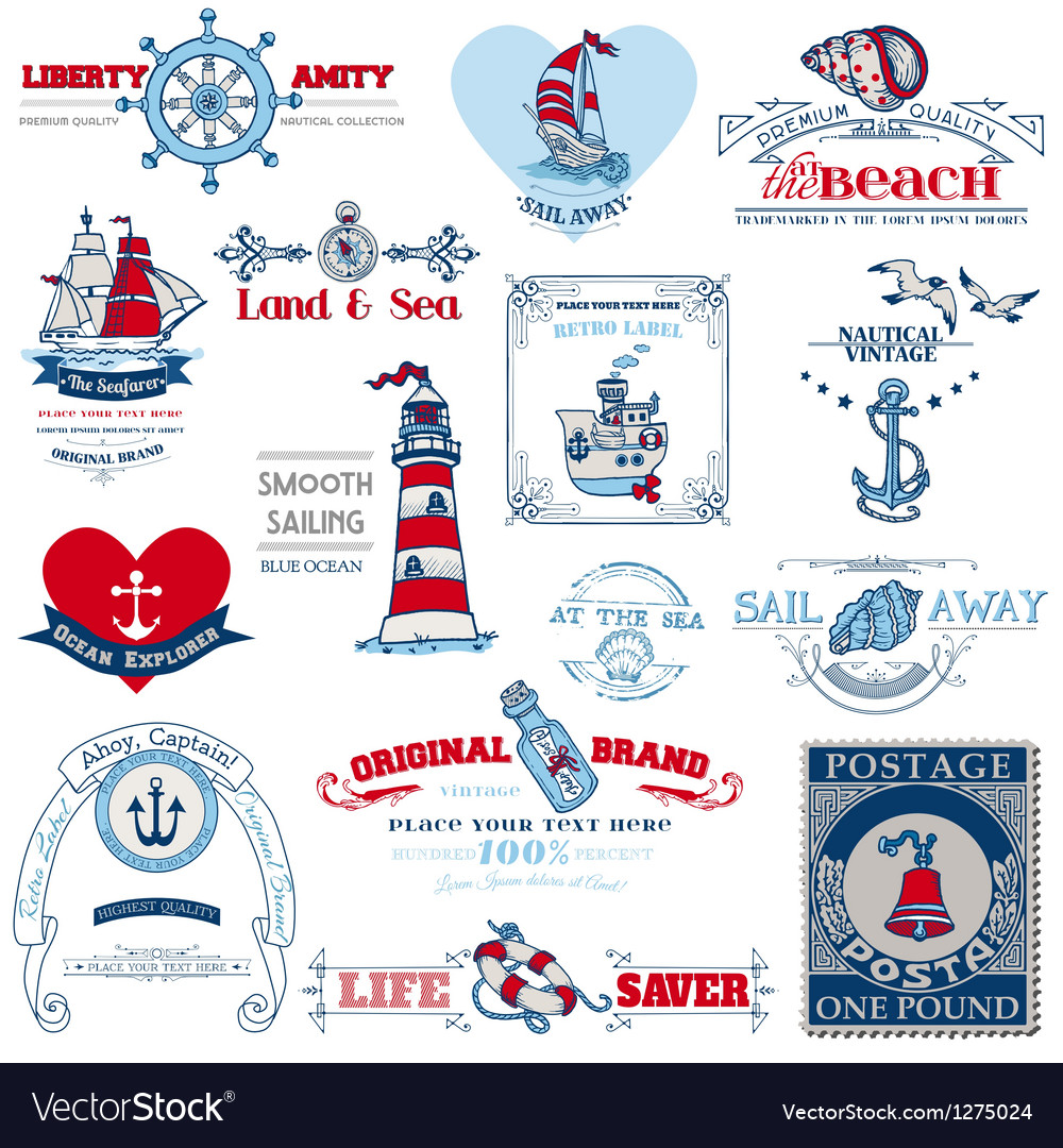 Nautical sea calligraphic elements vector