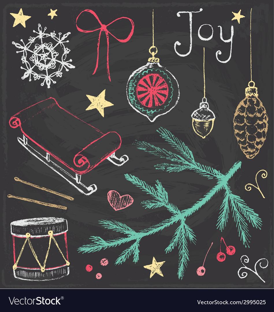 Vintage christmas chalkboard hand drawn set 4 vector