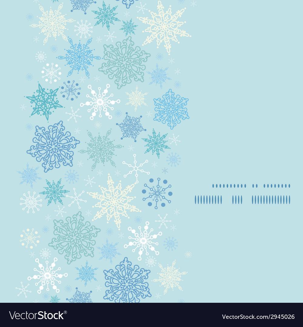 Falling snow vertical frame seamless pattern vector