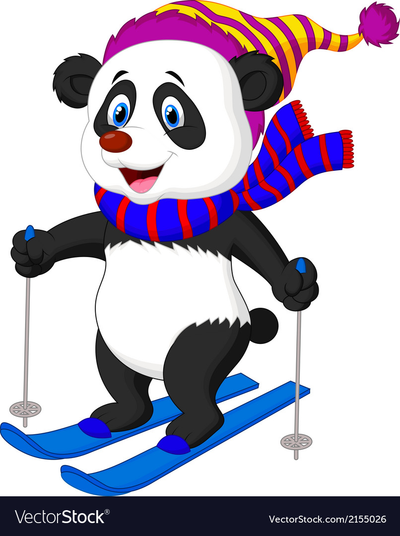 Panda cartoon skiing vector