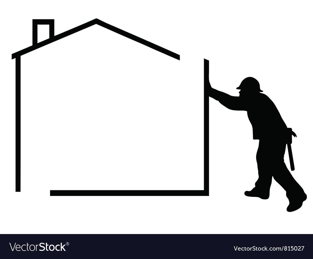 Man building a house vector
