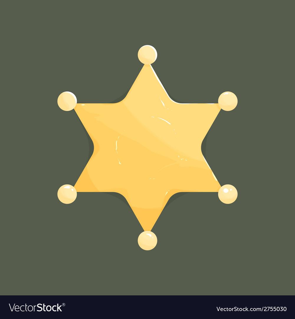 Blank golden sheriff star isolated on dark vector