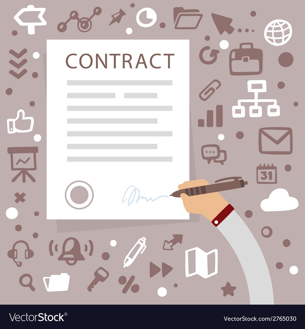 Bright male hand writes contact on a gray ba vector