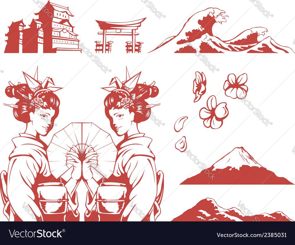 Japanese set girl in kimono sakura mountain castle vector