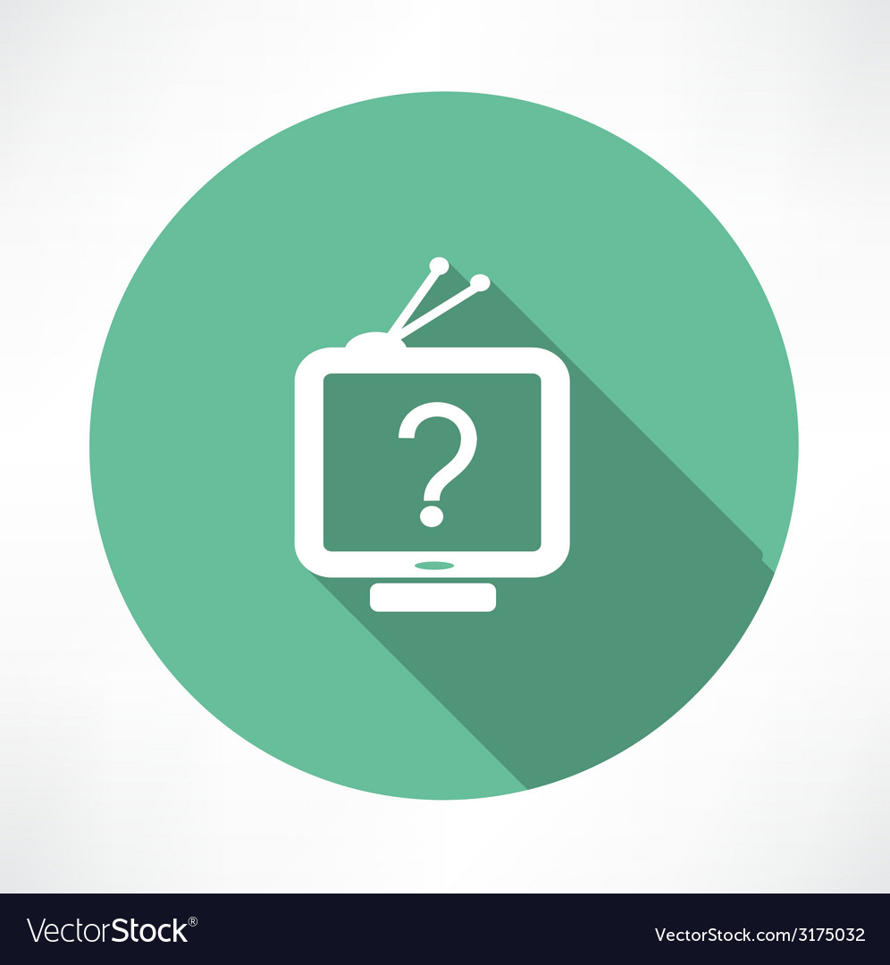 Question mark in tv icon vector
