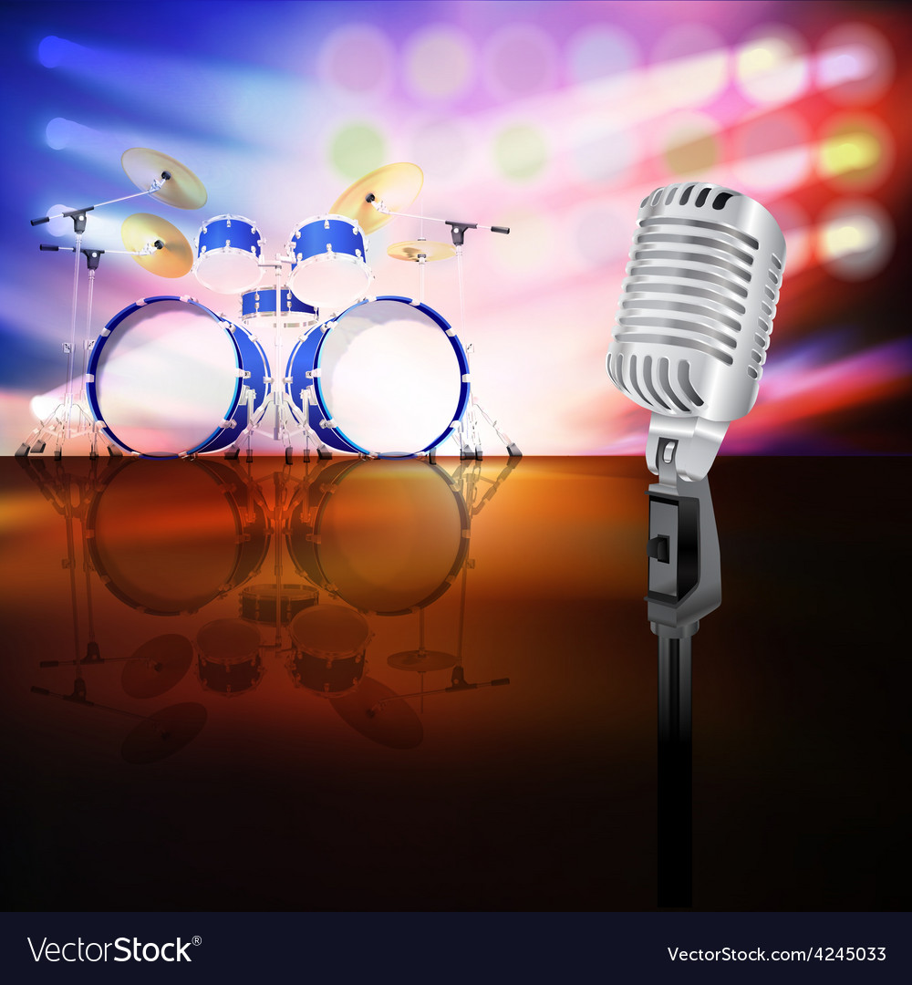 Abstract jazz background with drum kit and retro vector