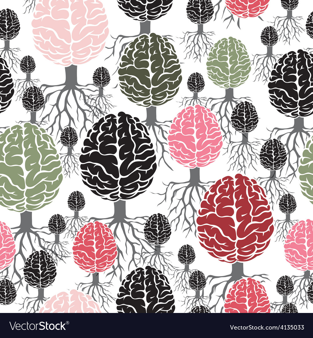 Brain with roots seamless abstract backdrop vector